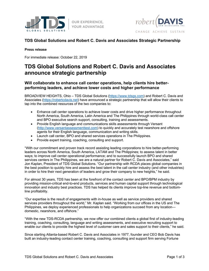 TDS RCDA partnership PR 10182019