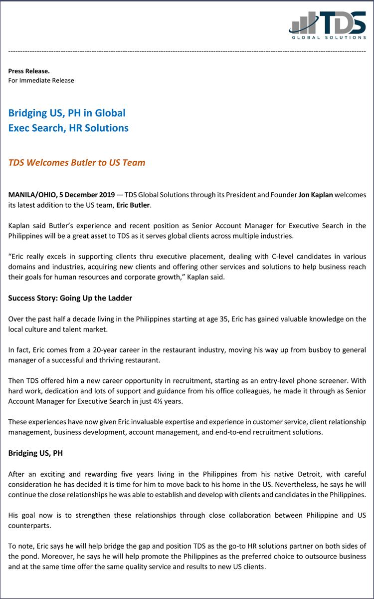 TDS-US Welcomes Butler PDF