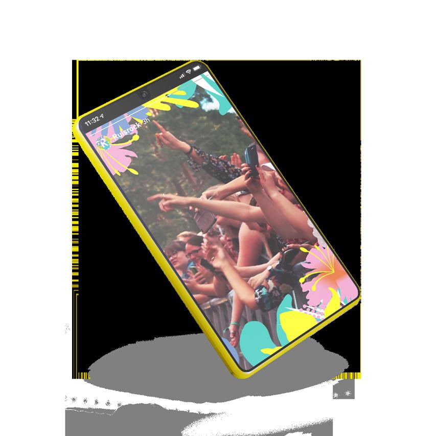 Kuvassa näkyy ote Jukran suunnittelemasta videosta Ruisrockin instagram-profiiliin. Kuvassa on innokasta yleisöä rantalavan edessä.