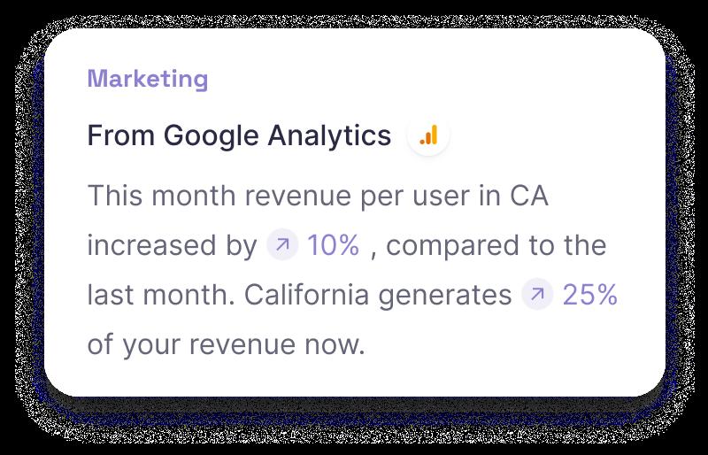 Narrative BI Insights from different data sources: Google Analytics, Hubspot, Salesforce, Marketo.