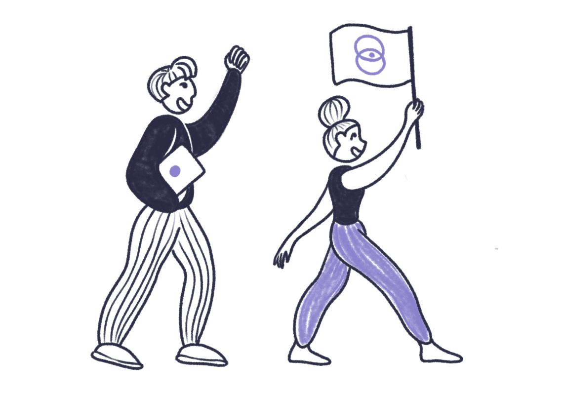 Two people walking, holding computer and Narrative BI flag.