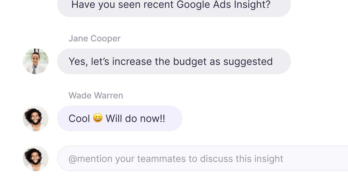 Chat screen under the insight part in Narrative BI interface.