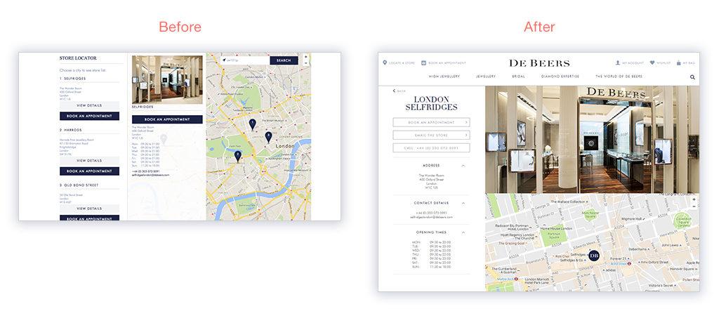 DeBeers Store Locator Redesign