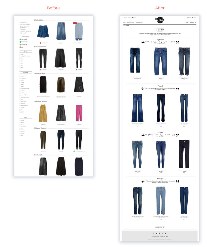 Wardrobe Icons category listing page responsive website design by Skywire Studios