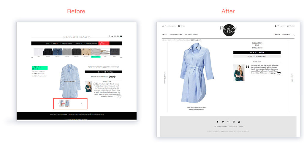 Wardrobe Icons product page responsive website design by Skywire Studios