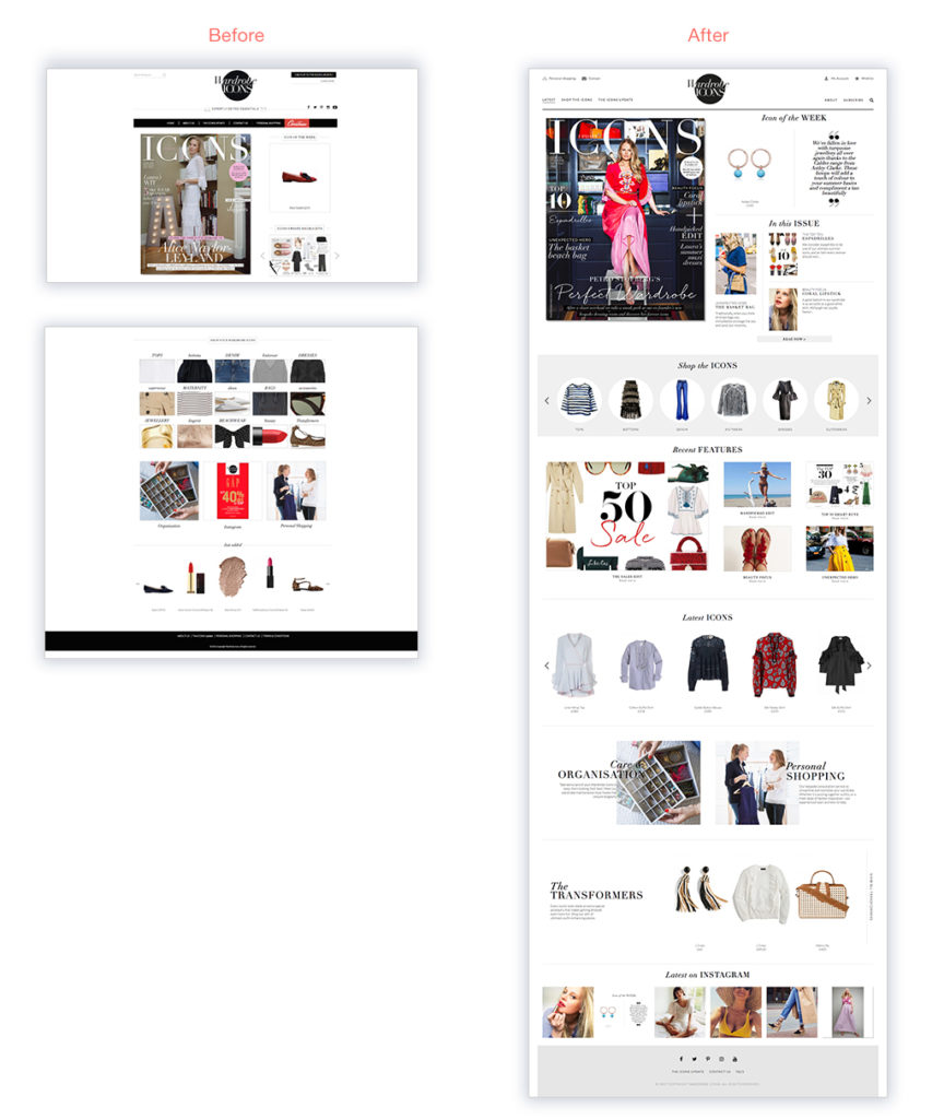 Wardrobe Icons homepage responsive website design by Skywire Studios