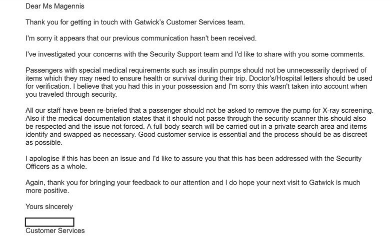 aiport security diabetes apology email
