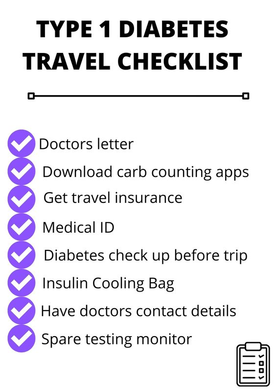 type 1 diabetes travel checklsit