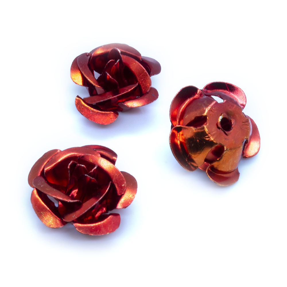Aluminum Rose Beads - 15mm - 10pc