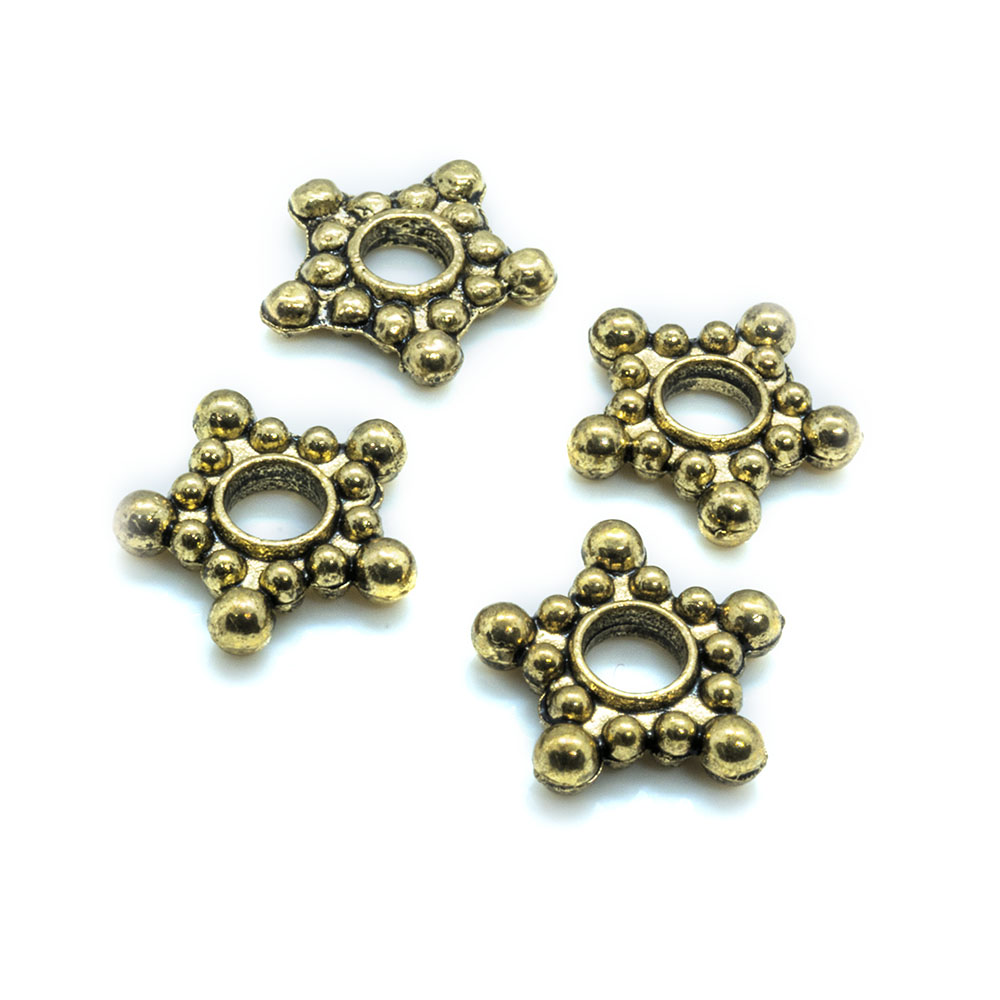 Beaded Rondelle Star - 8x3mm - 10pc