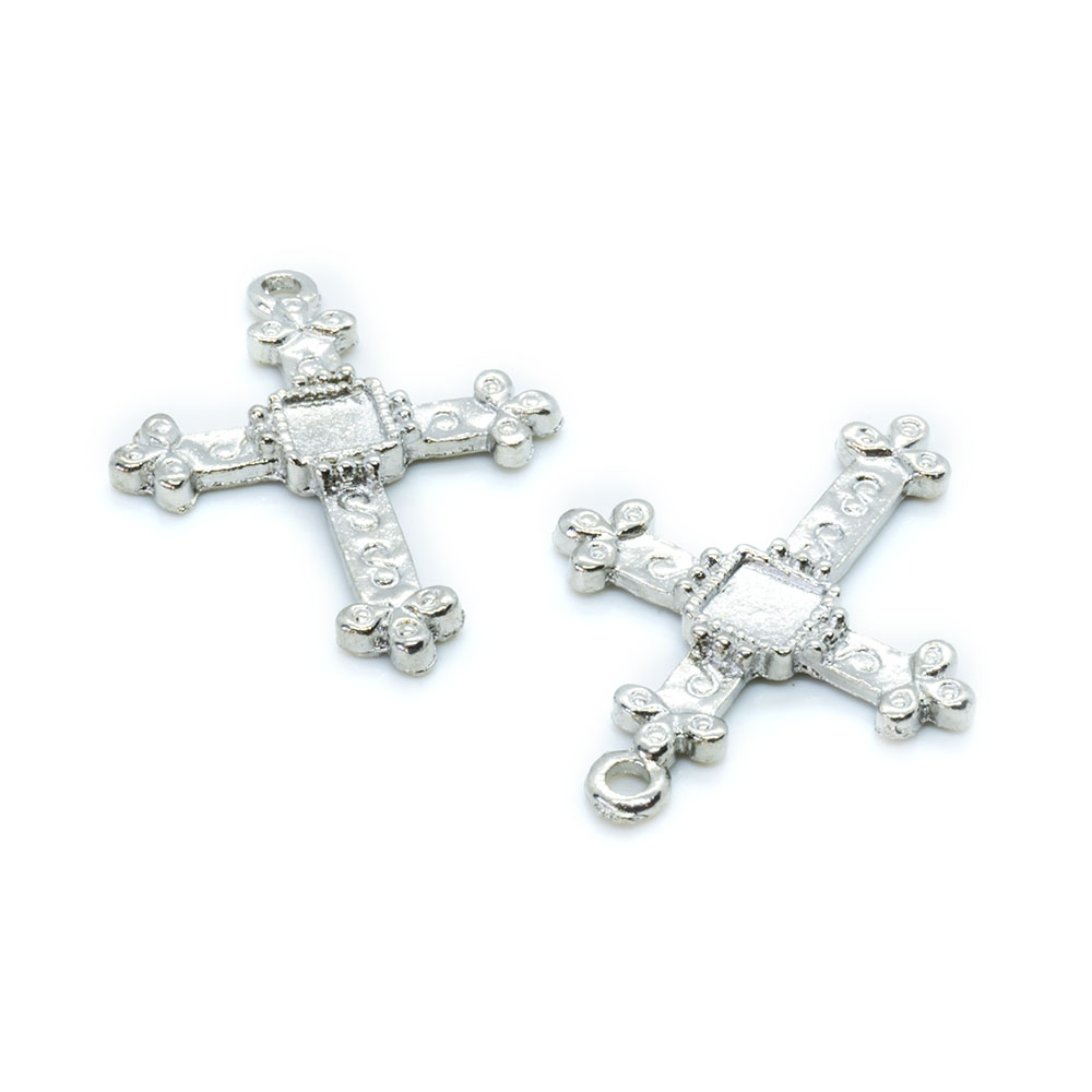 Alloy Cross Pendant - Platinum-Plated - 27.2x20mm