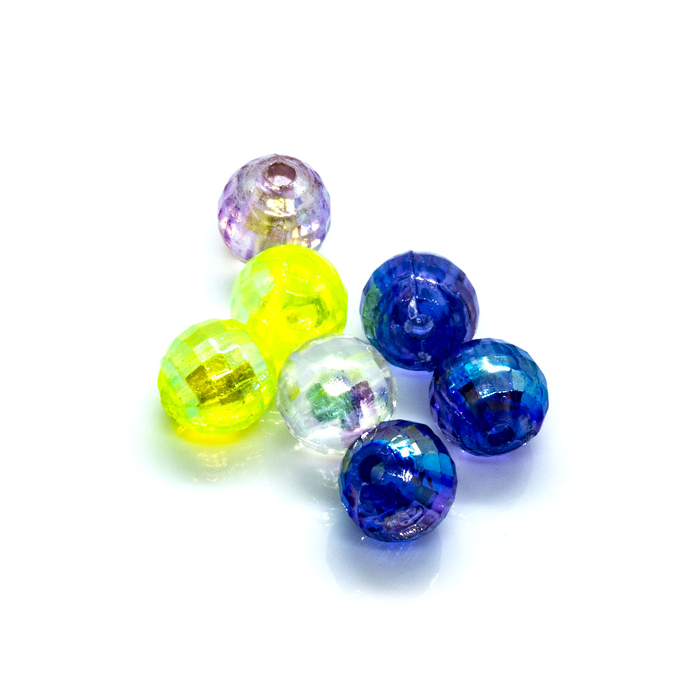Acrylic Round Faceted Mix - 6mm - 10g