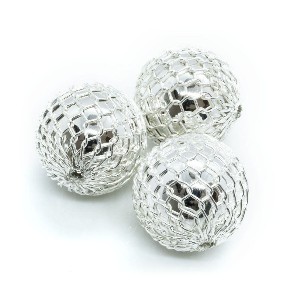 Acrylic And Net Beads - Round - 12mm