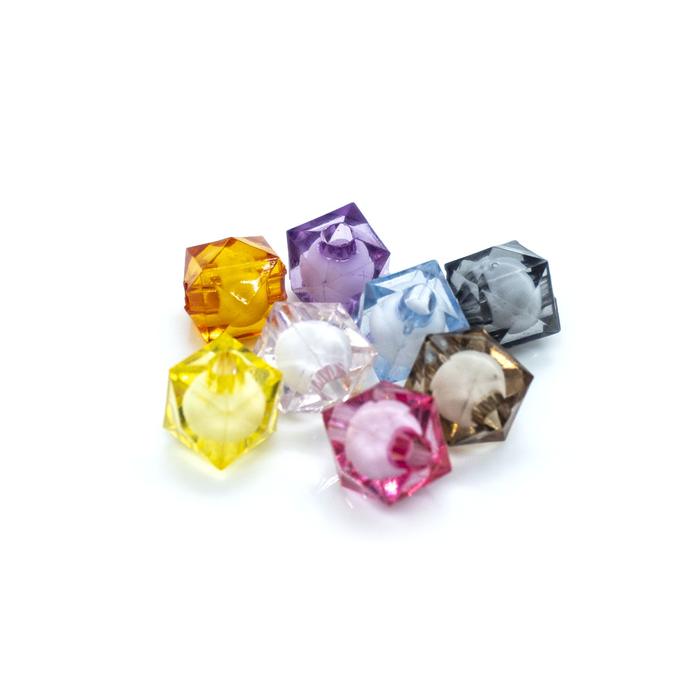 Bead in Bead Faceted Square - 8mm - 10pc