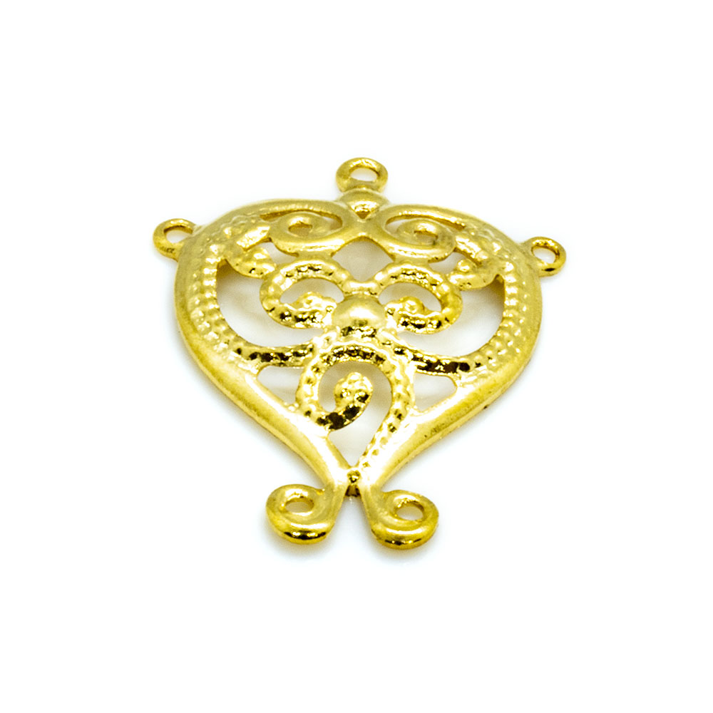 Charm - Filigree Heart With Swril - 15x13mm