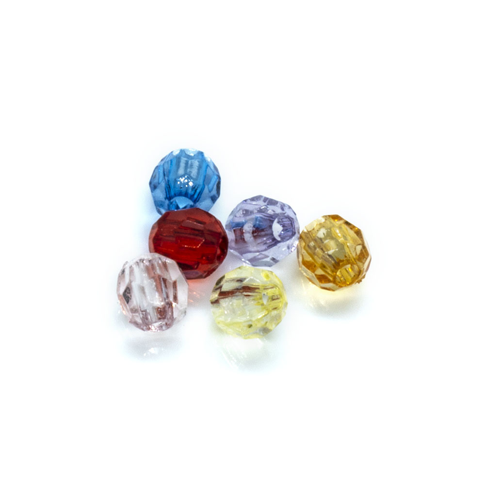 Dyed Acrylic Beads - Faceted Round Mix - 4mm - 10g