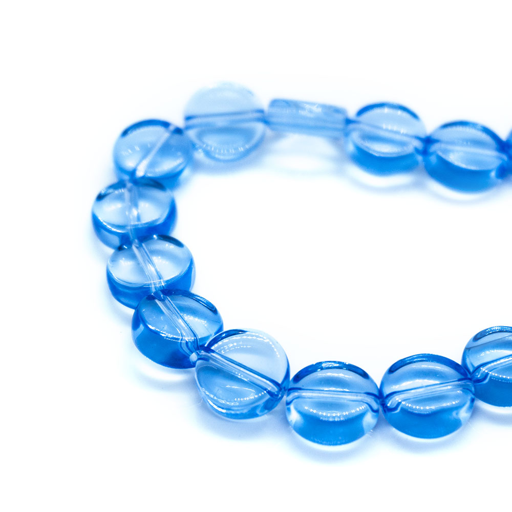 Flat Round Glass Beads Strands - 10mm - 34cm strand