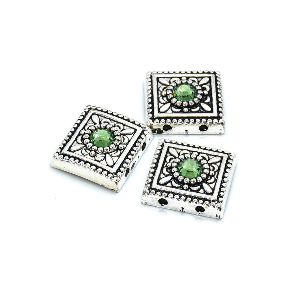 Spacer Bead with Swarovski Square - 13x13mm - 2pc