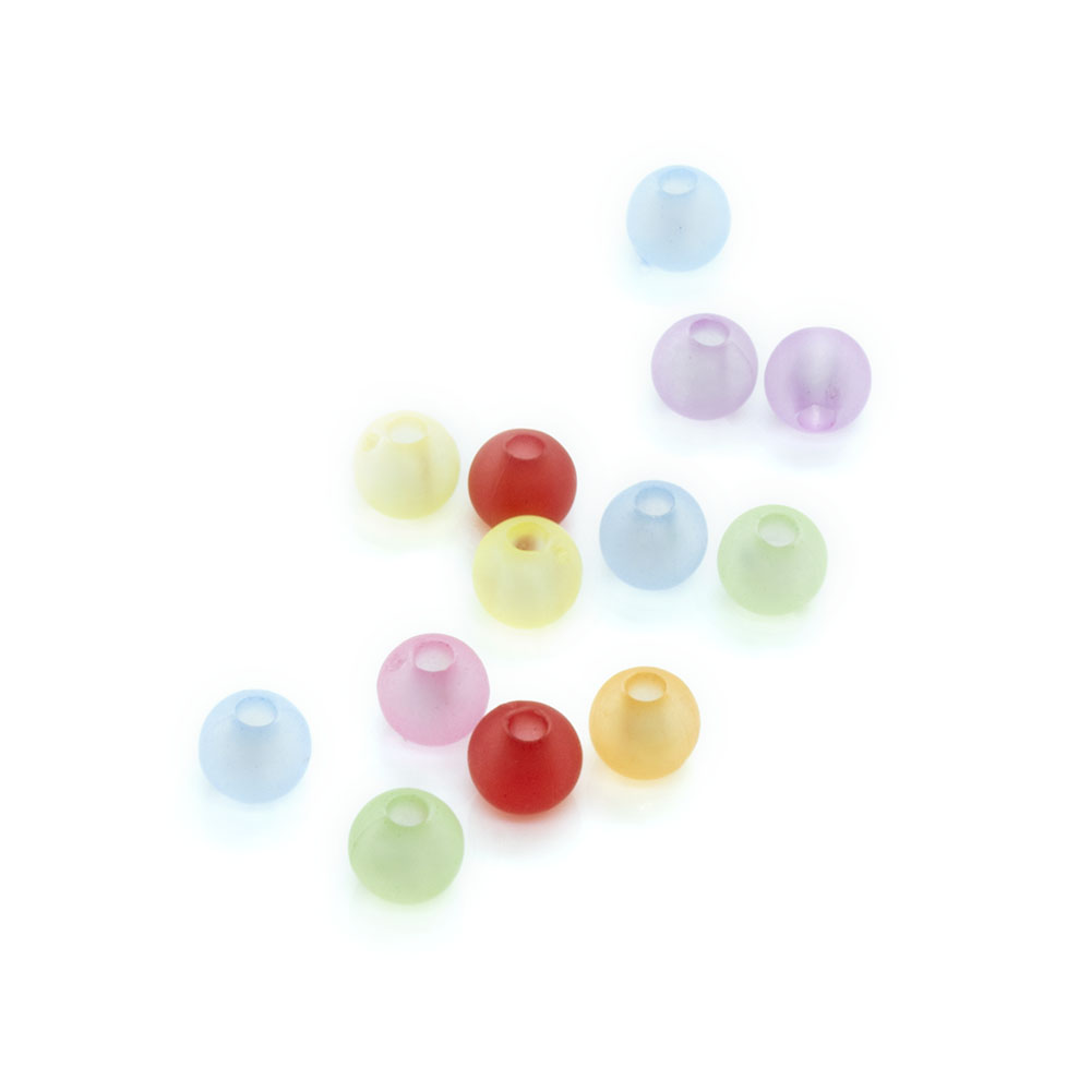 Frosted Round Acrylic Beads Mix - 4mm - 100pc