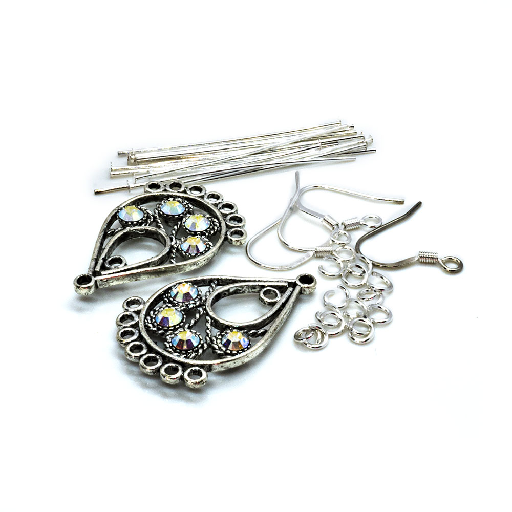 Crystal Innovations - Swarovski Earring Kit - Crystal AB Teardrop