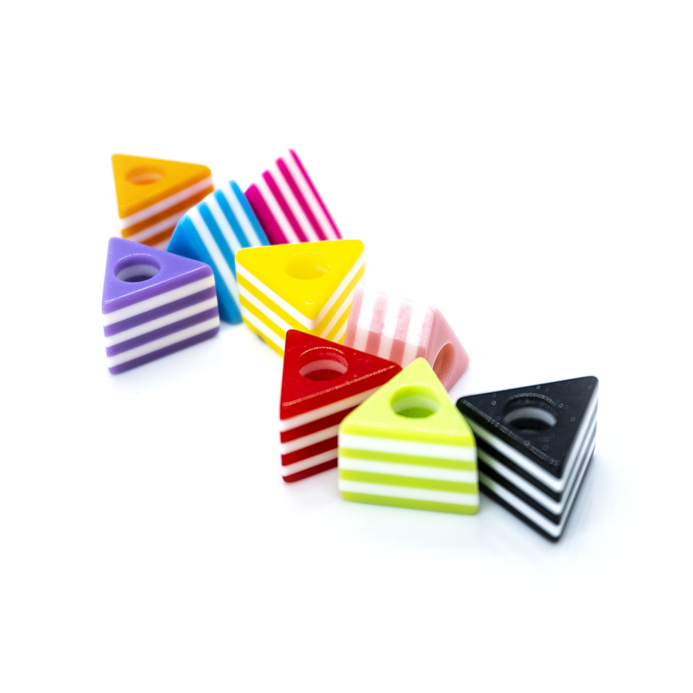 Acrylic Striped Triangle - 13x10mm - 5pc