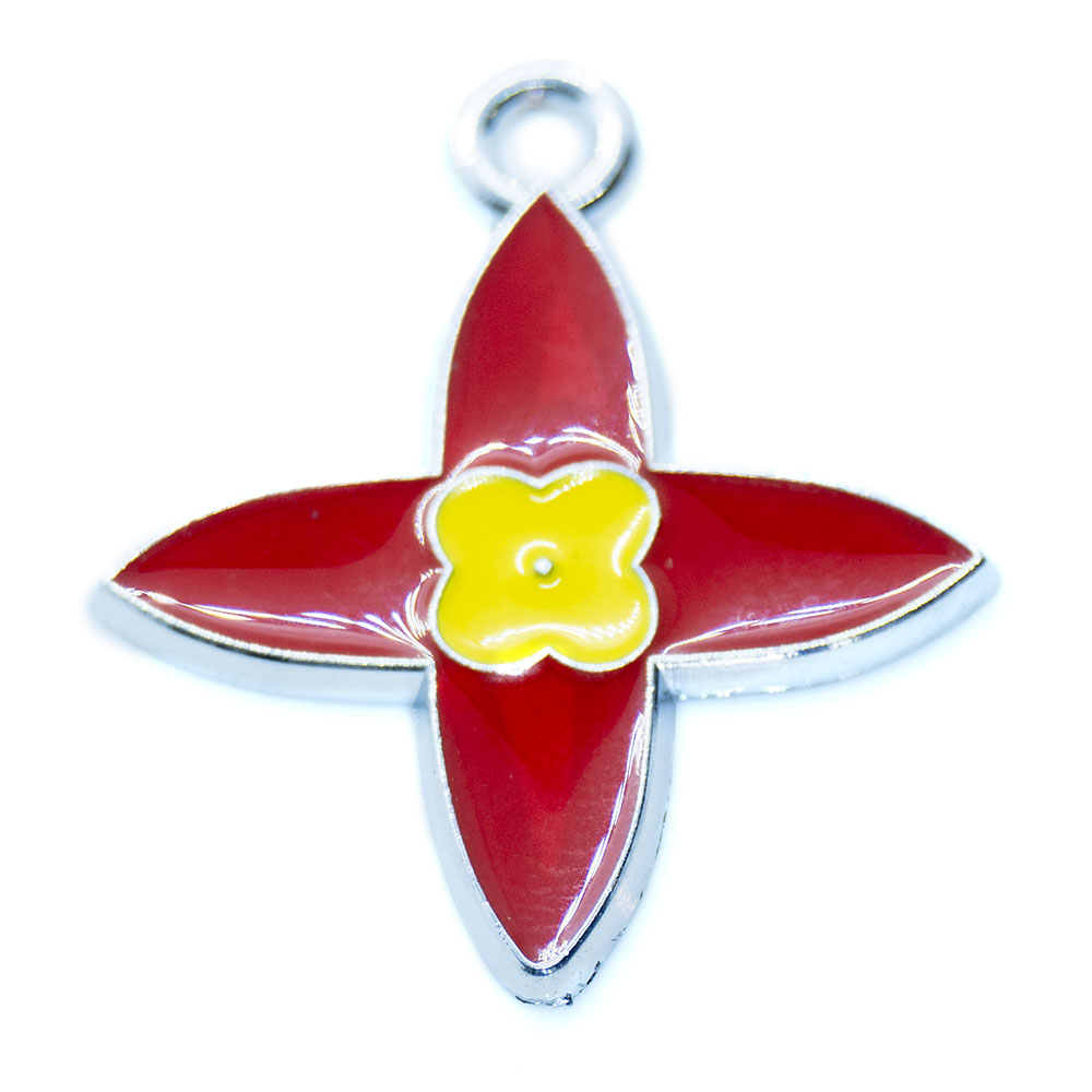 Enamel Flower Charm - 28x24mm - 1pc