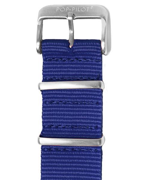 Pop Pilot nato horlogeband | Blauw-Zilver | 22mm