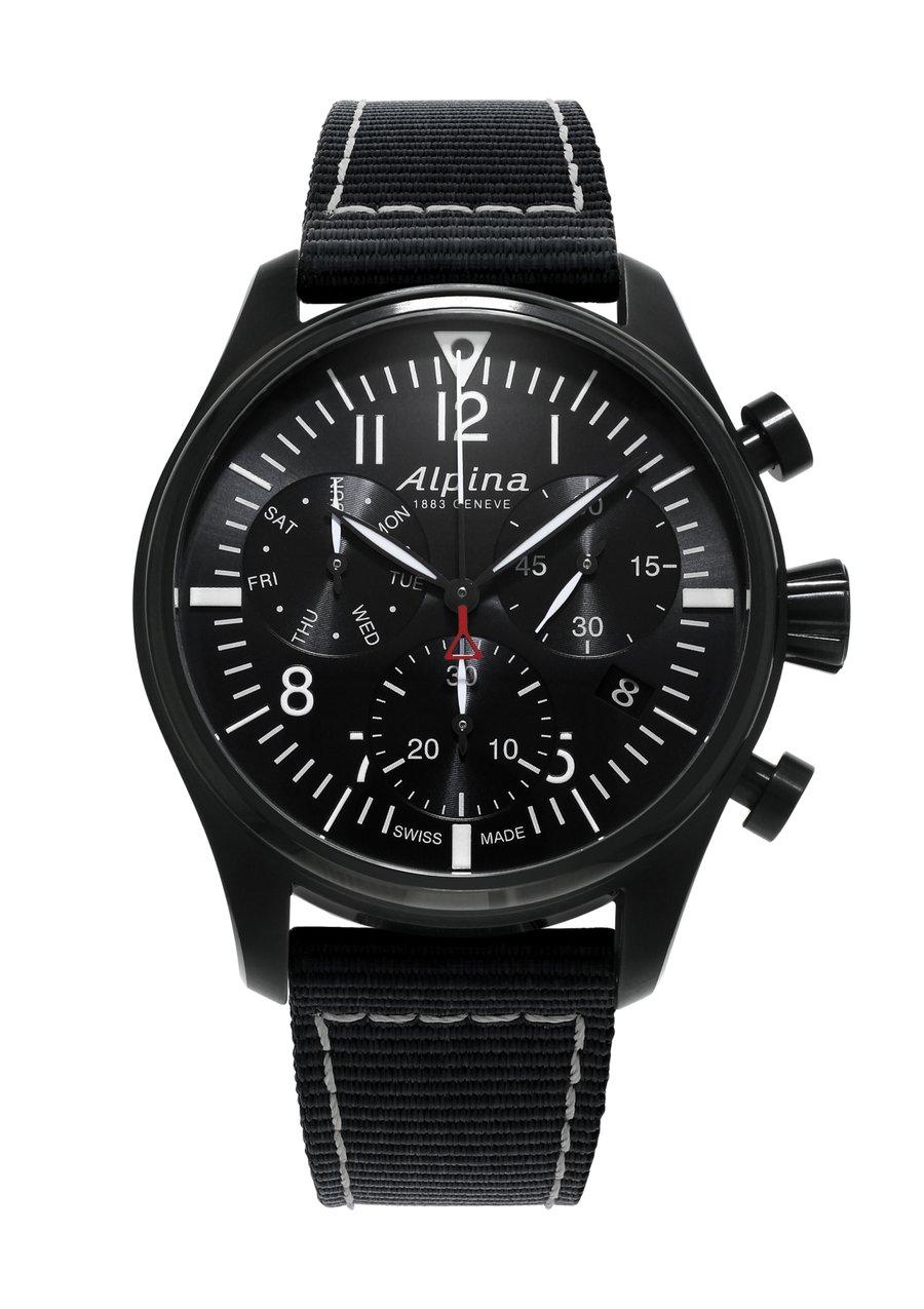 Alpina horloge startimer pilot chronograph quartz | Zwart