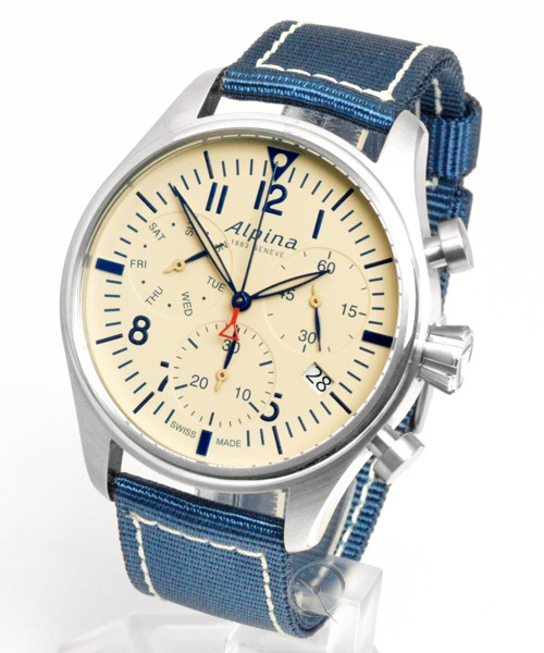 Alpina horloge Startimer Chronograph | Blauw