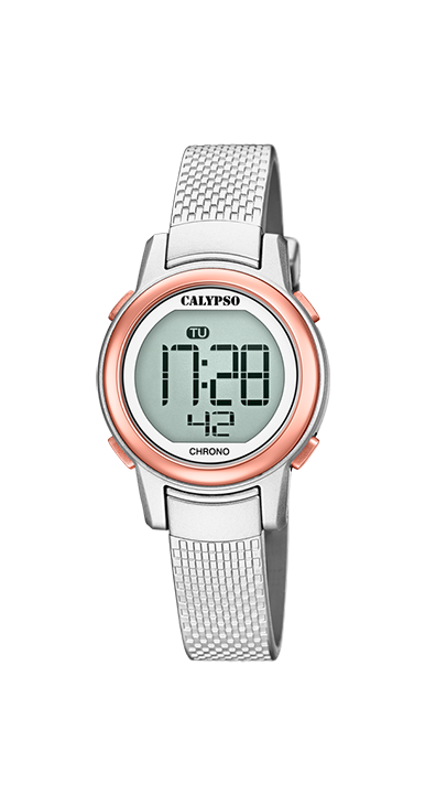 Calypso kinderhorloge Digital Crush | Zilver/Rosé