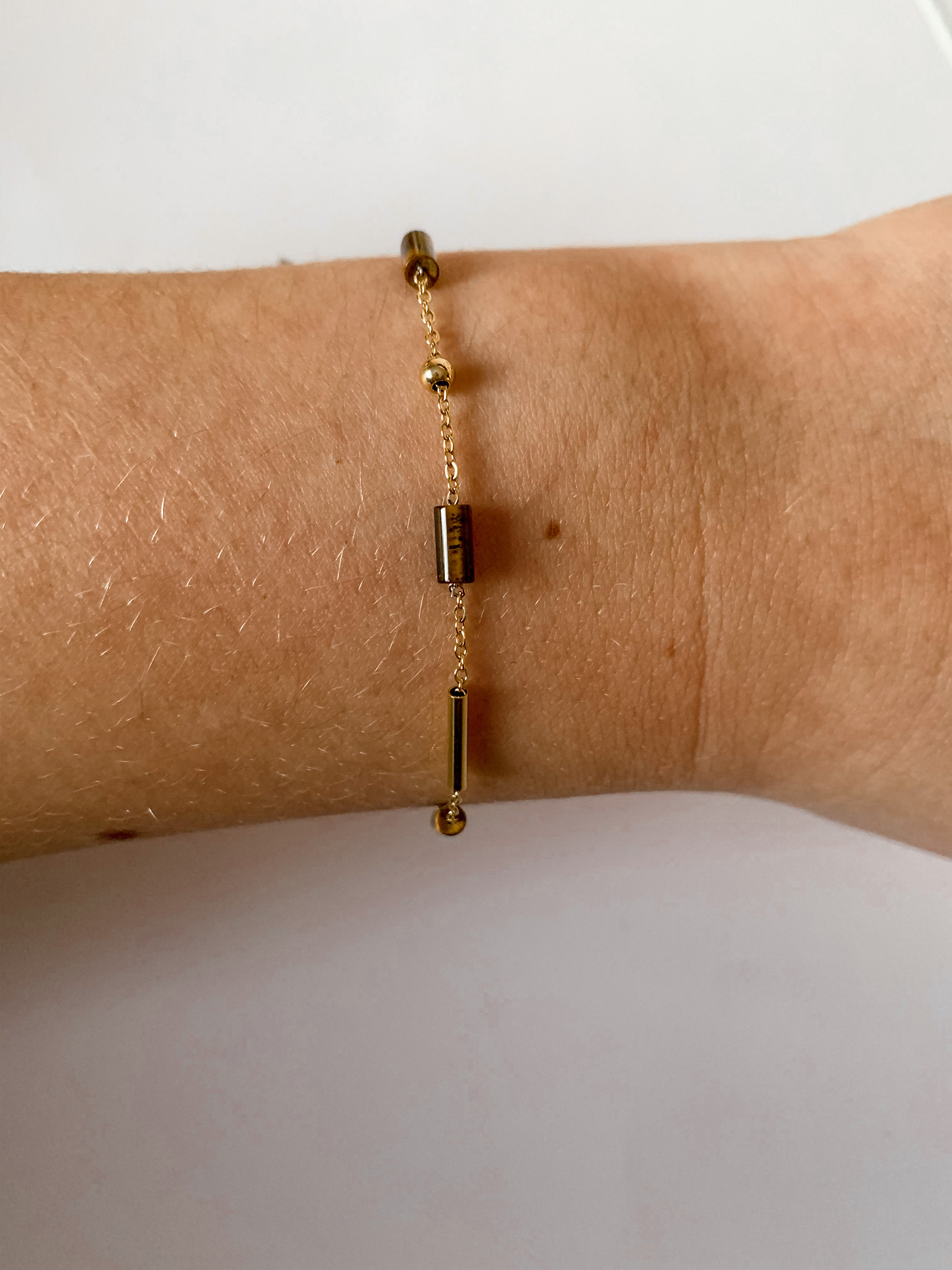 Zag Bijoux armband Staafjes Tijgeroog | Goud