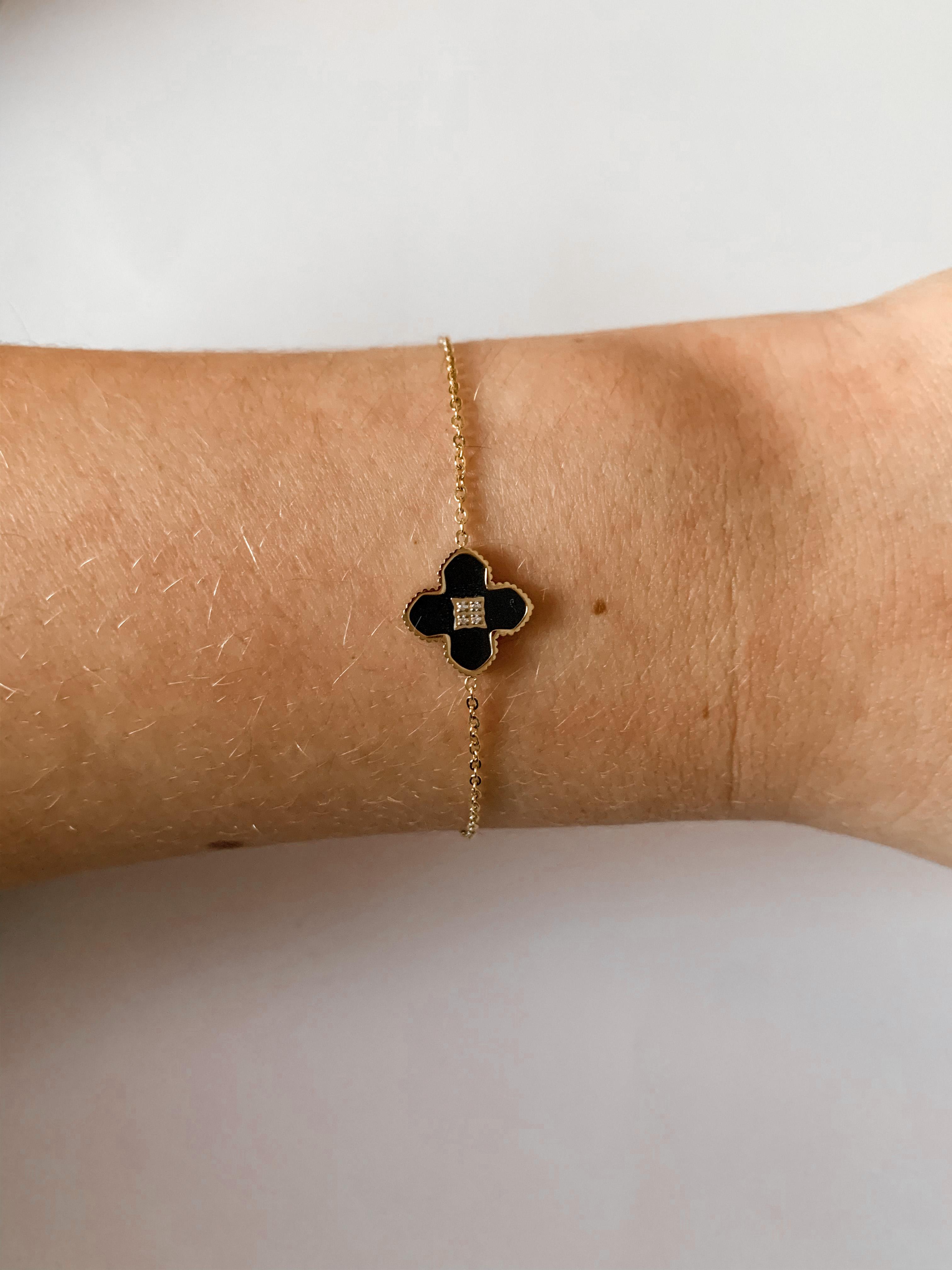 Zag Bijoux armband Klaver Onyx Zirk | Goud