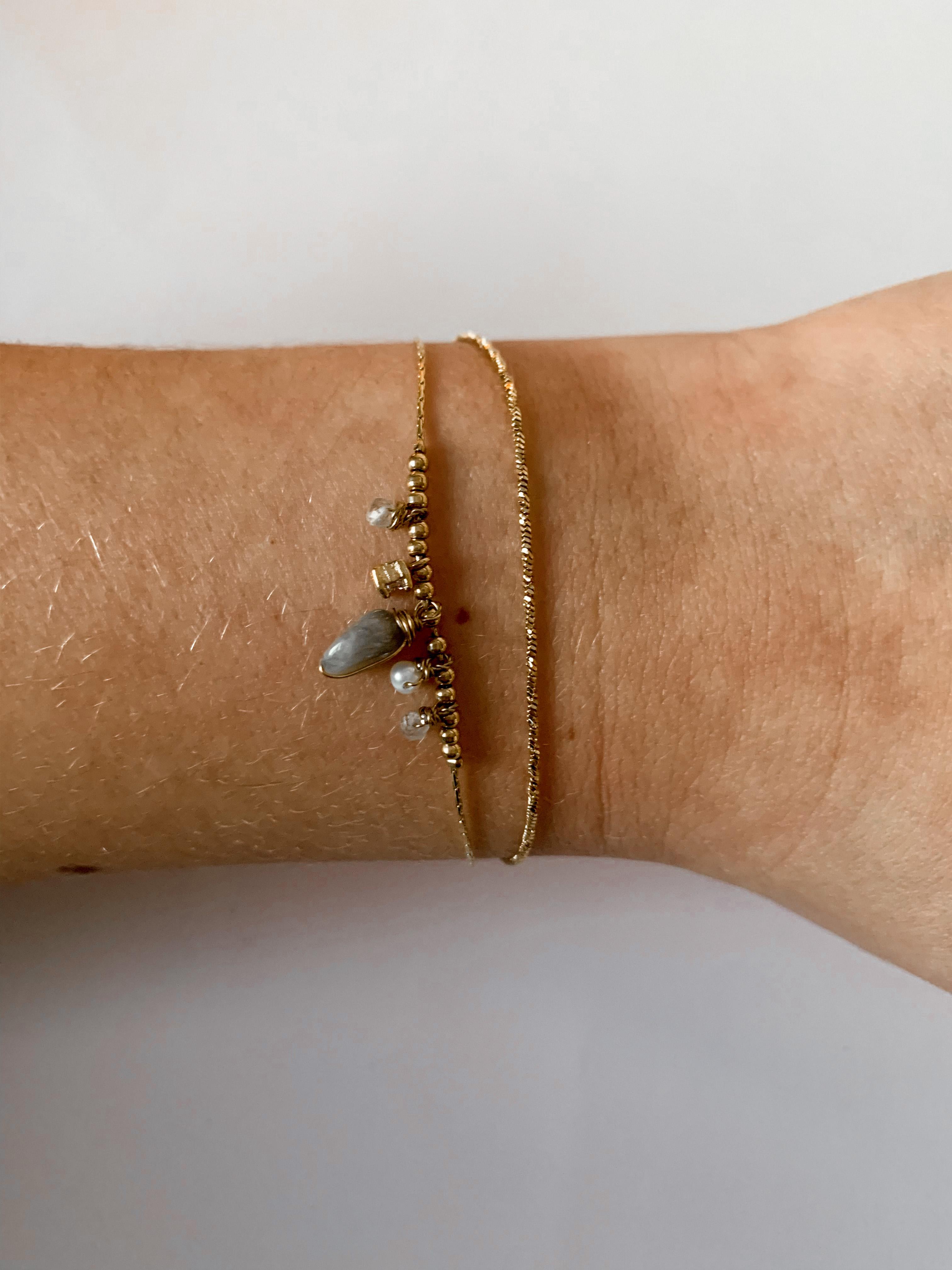 Zag Bijoux armband Double Agaat Zirk | Goud