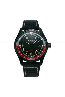 Alpina horloge startimer pilot quartz gmt | Zwart/Rood
