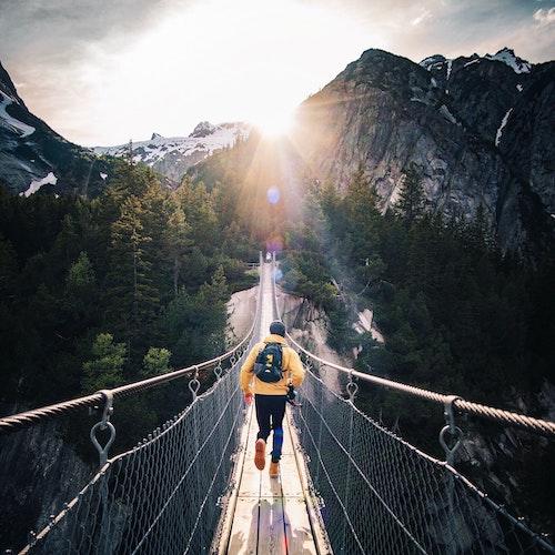 Instagram photo man on the bridge