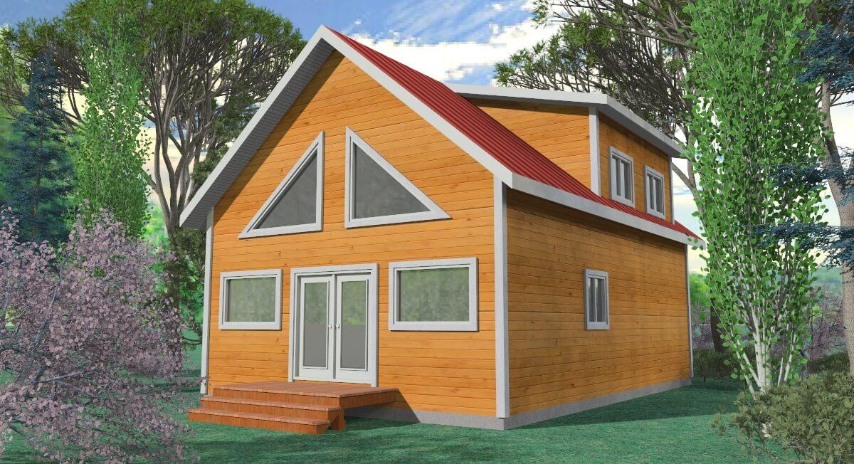 woodland cabin render