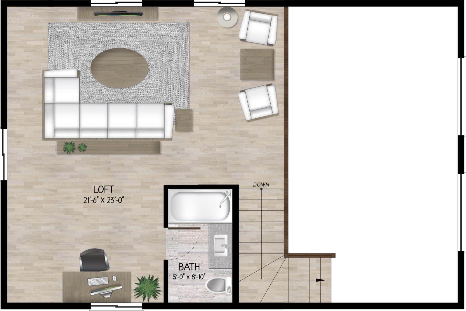 woodland cabin plan loft