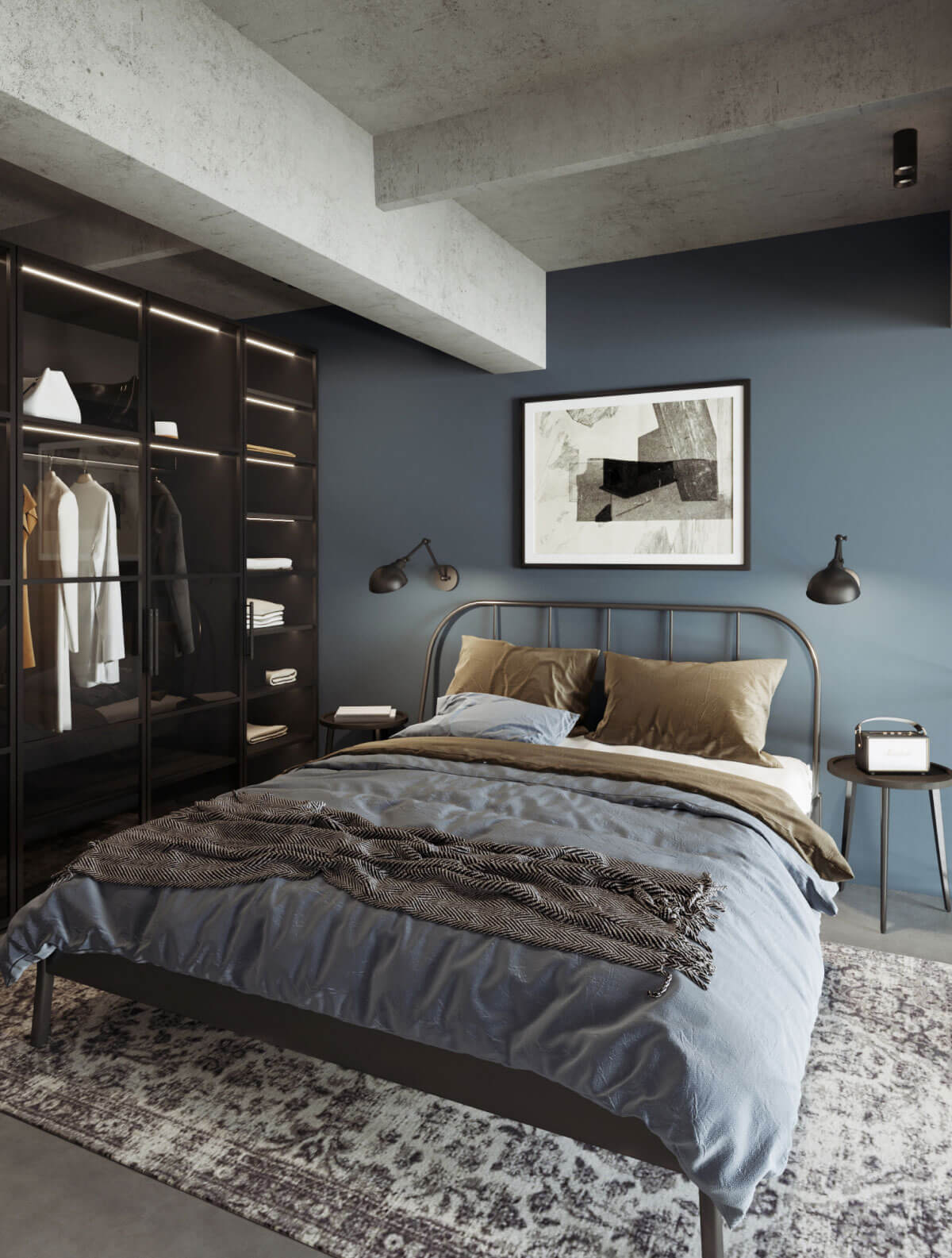 Urban style loft interior bedroom