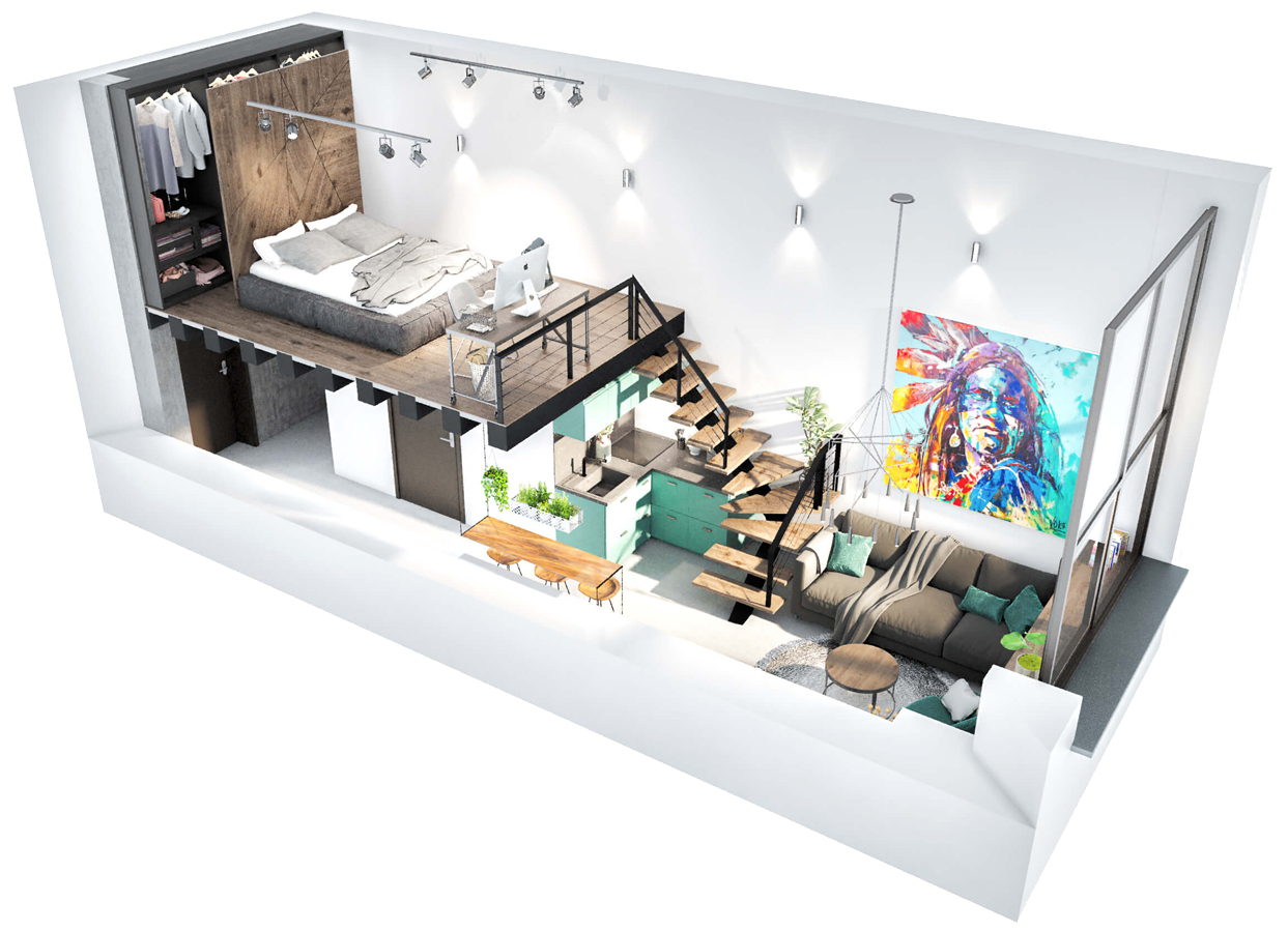 3d plan of loft interior
