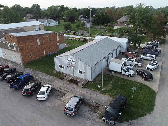 Drone photography of a commercial building in a small town within Indiana.