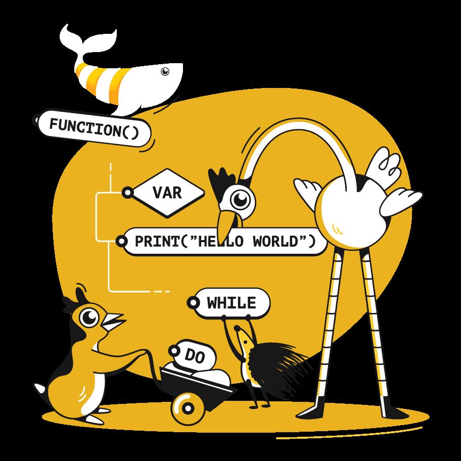 Honey Whale code cartoon
