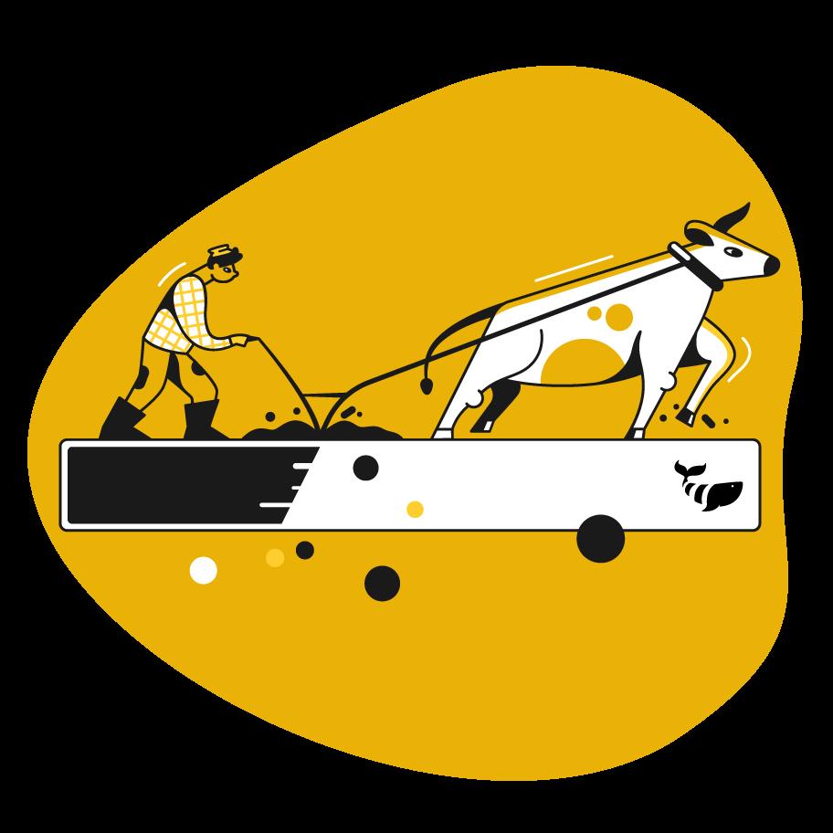 ox pulling farmer cartoon