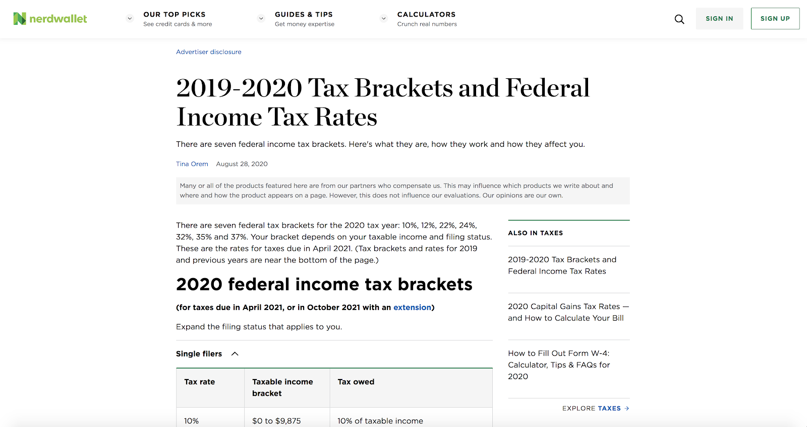 nerdwallet income tax