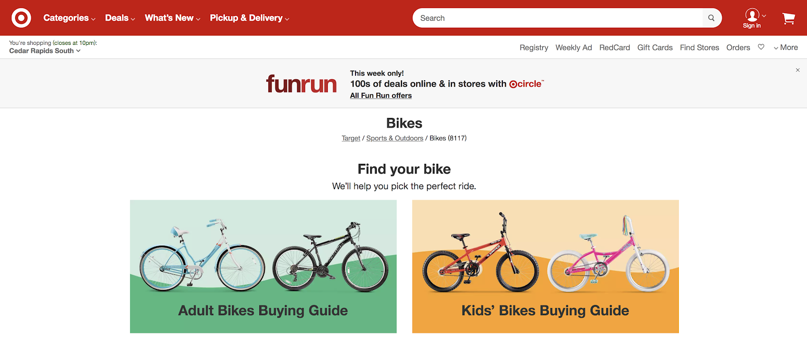 example of content on Target's bike page.