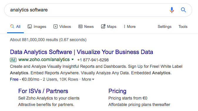 Screenshot of typing the keyword 'analytics software' into Google search. It displays Zoho's ad that contains the keyword 'analytics software' in the heading.