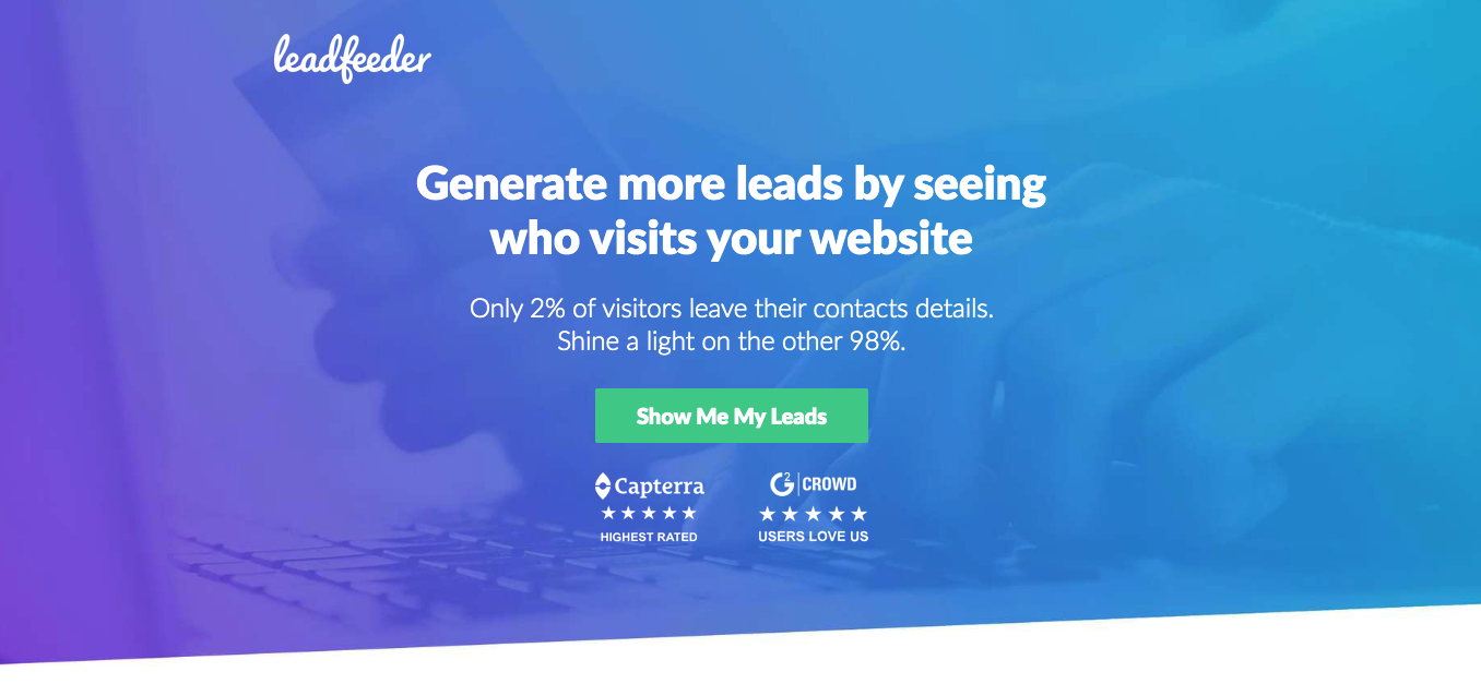 This is a good example of a landing page not having any links in the navigation header. They are only directing people to click a button that says 'Show me my leads'.