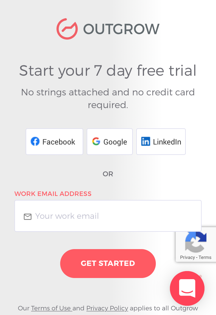 It shows a landing page from Outgrow. It displays their sign up process to start a 7-day free trial.