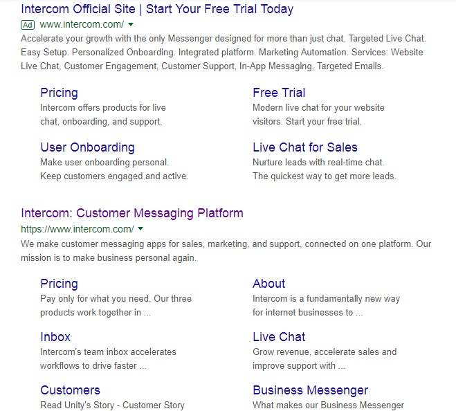 This shows Intercom bidding on their brand name in Google search.