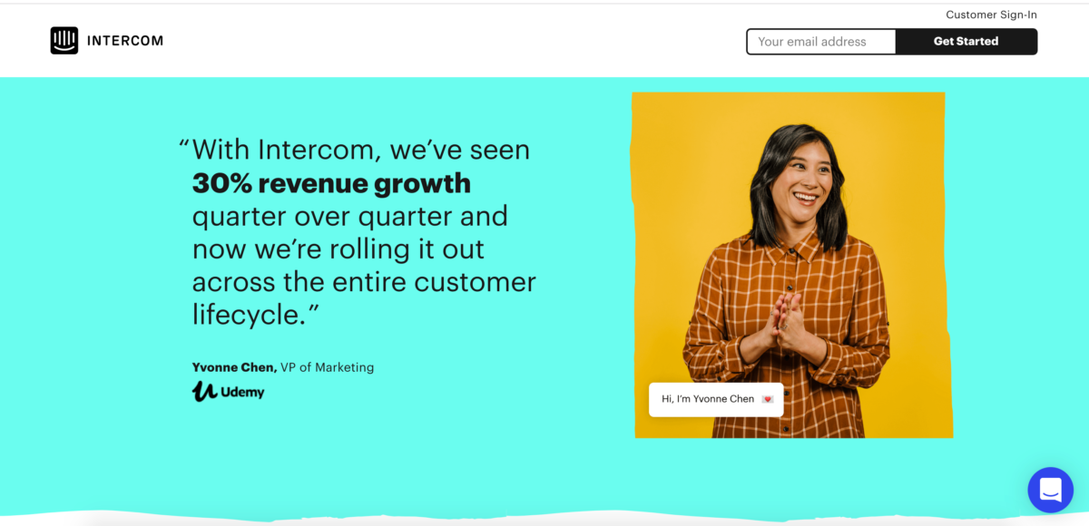 This is a screenshot of a landing page for Intercom. We got to this page from Google paid search ads.
