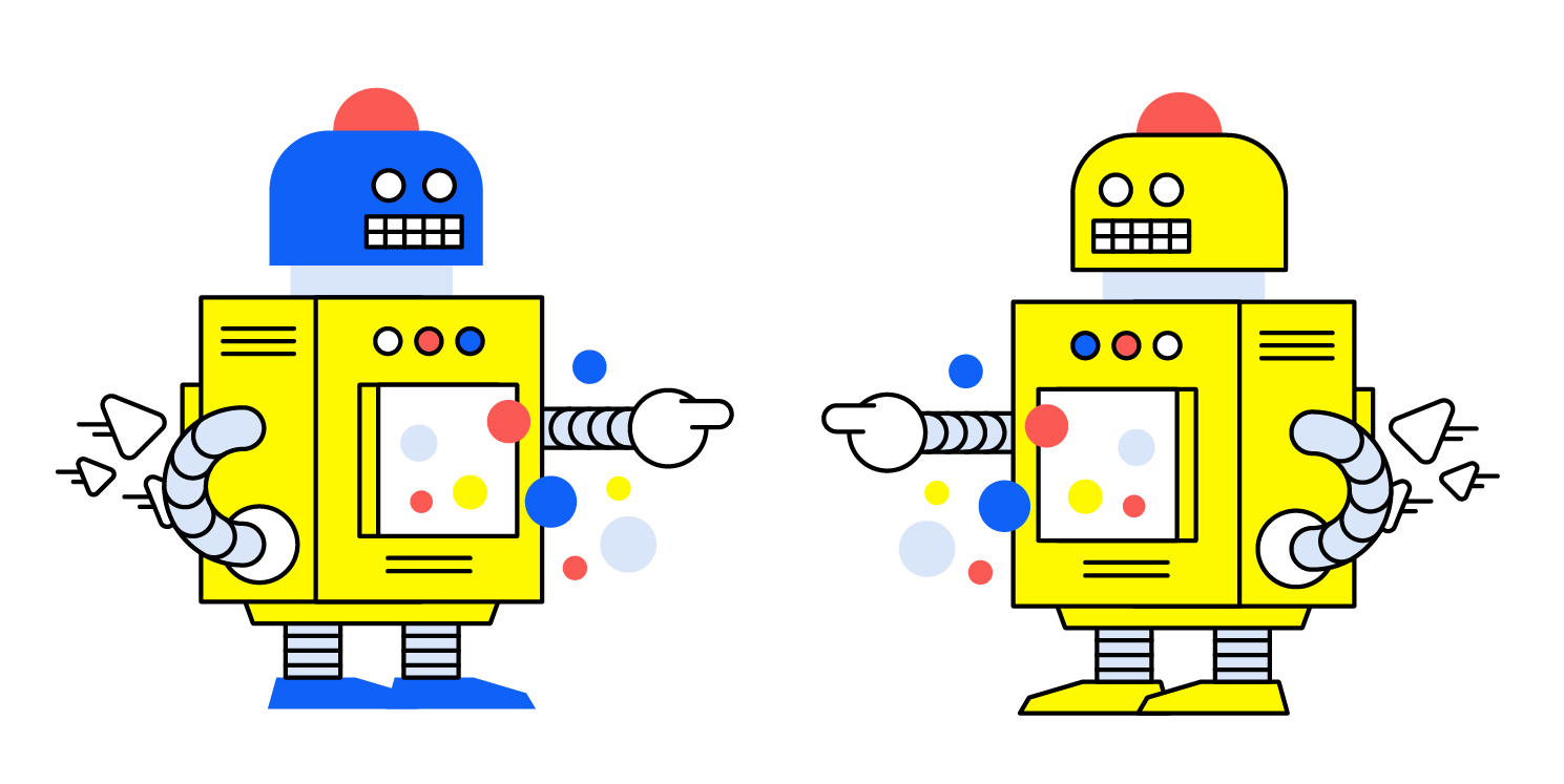 Two robots in Hey Digital colours pointing to each other.